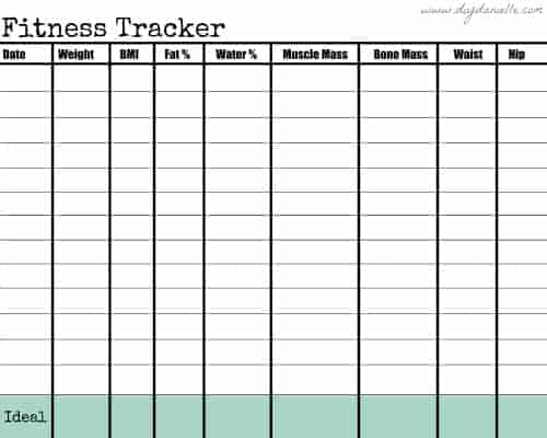 FREE Printable to track fitness goals.