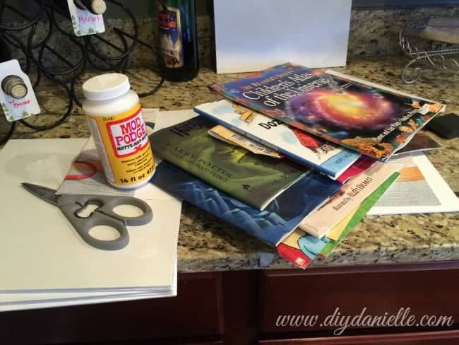 Supplies for making fabulous wall art from dust jackets of children's books!