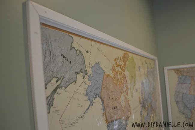 Close up of the wood frame around our maps.