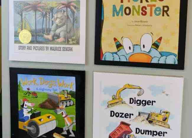 How to Upcycle Book Jackets into Wall Art for a Playroom or Nursery