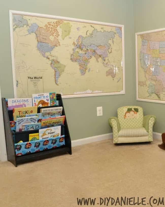 How to frame large maps for wall decoration in a home school area of a basement playroom.