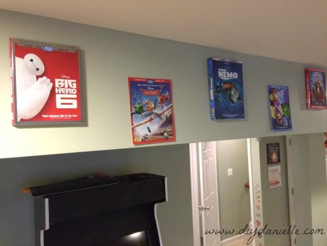 DVD cases as decorations in our playroom.