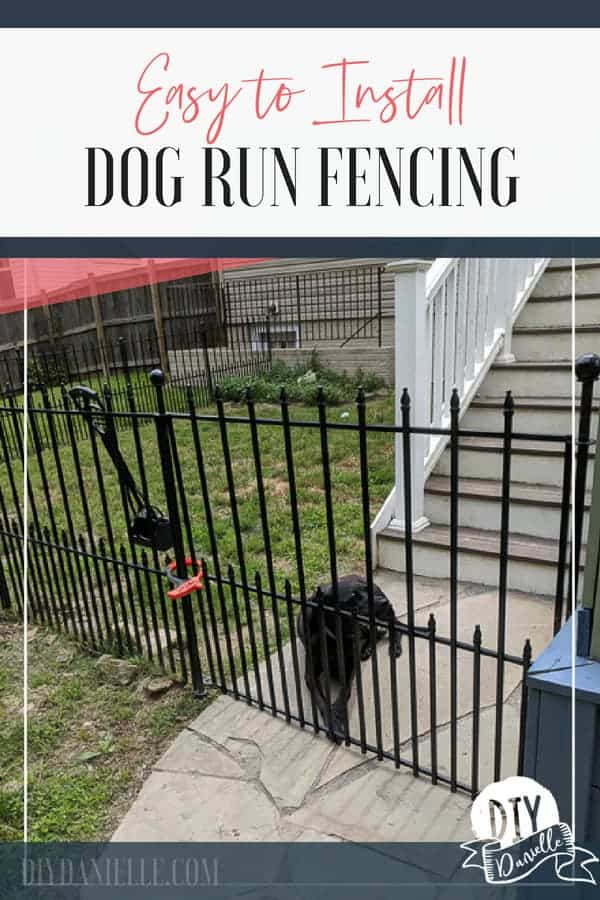 Easy to install fenced dog run. Easy fencing to install that doesn't require digging post holes.