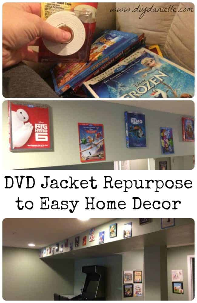 How to repurpose DVD jackets into easy basement playroom decor.