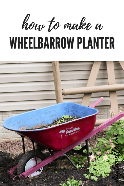 Easy wheelbarrow planter DIY.