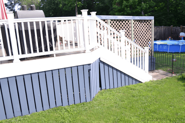 Large view of blue dark deck skirting.