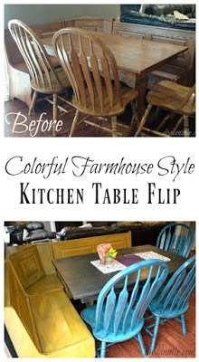 Kitchen Table with Benches: Colorfully Repainted!