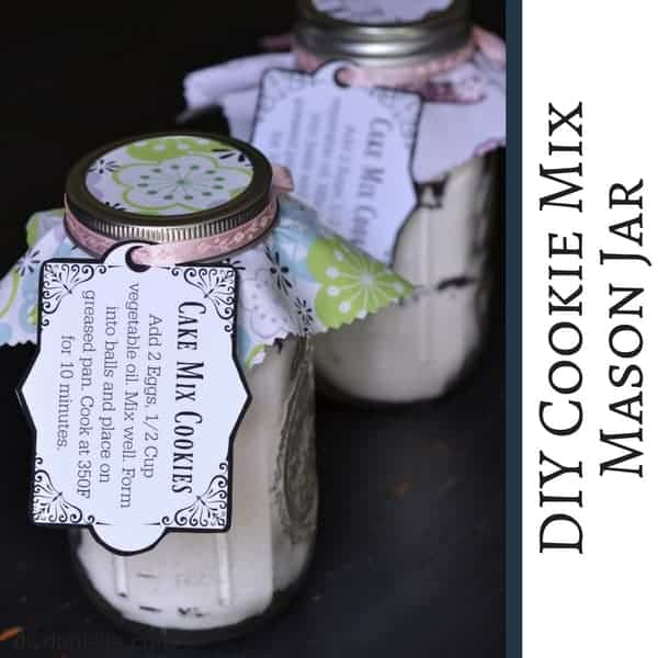 DIY Cookie Mix Mason Jar as a Gift. Cake Mix Cookie Recipe.