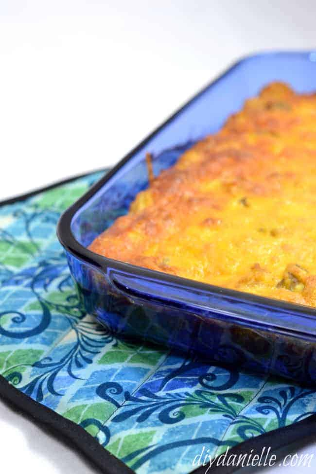 Sew a large pot holder for your casserole dish!