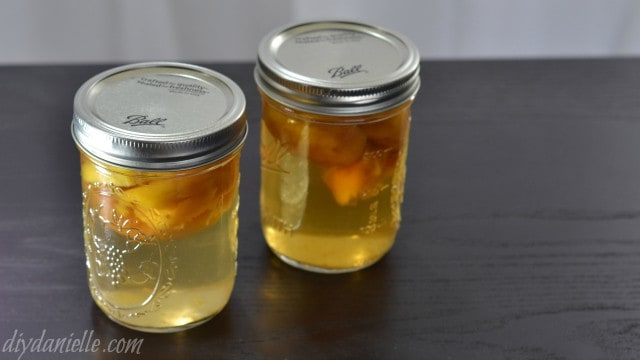 How to make fruit infused liquors. Pictured: Peach Infused Liquor