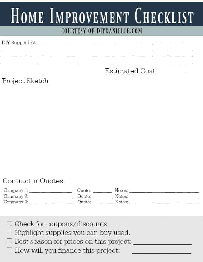 Free printable: Home Improvement Planning Checklist