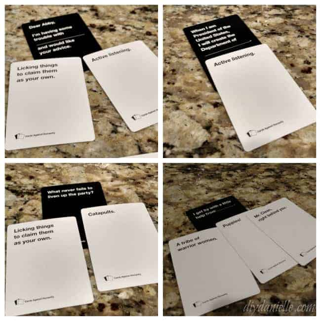 Looking at Cards Against Humanity Cards for making a costume.