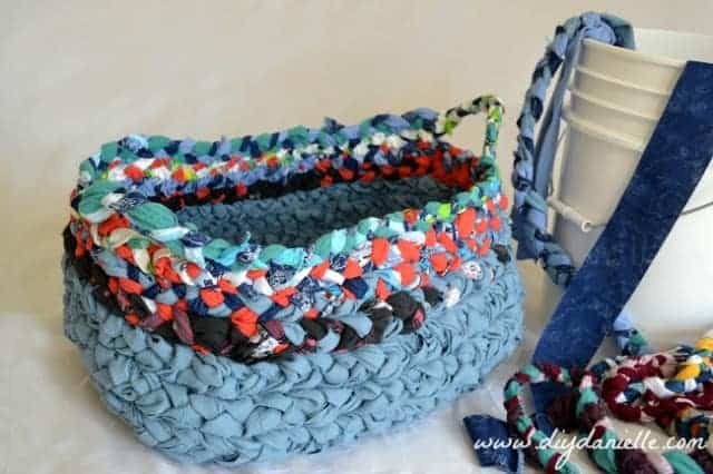 Braided fabric basket, made from upcycled clothing.