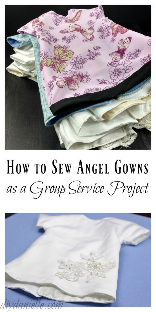 How to setup and sew Angel Gowns for a MOPS Group Service Project.