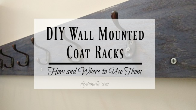 DIY wall mounted coat rack. This entryway coat rack is perfect for hanging coats and backpacks.