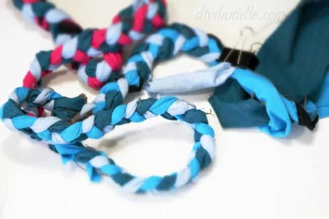 Braid your fabric together into long strips.