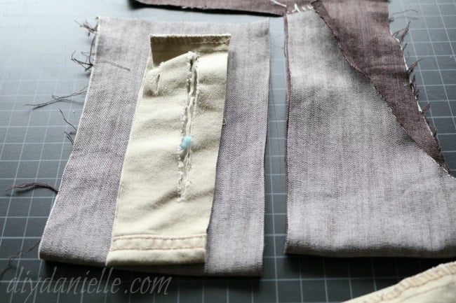 Using a coordinating fabric, cut replacement fabric for the knees of the pants.