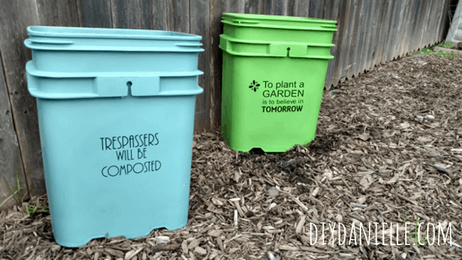 Painted planters with plastic spray paint.