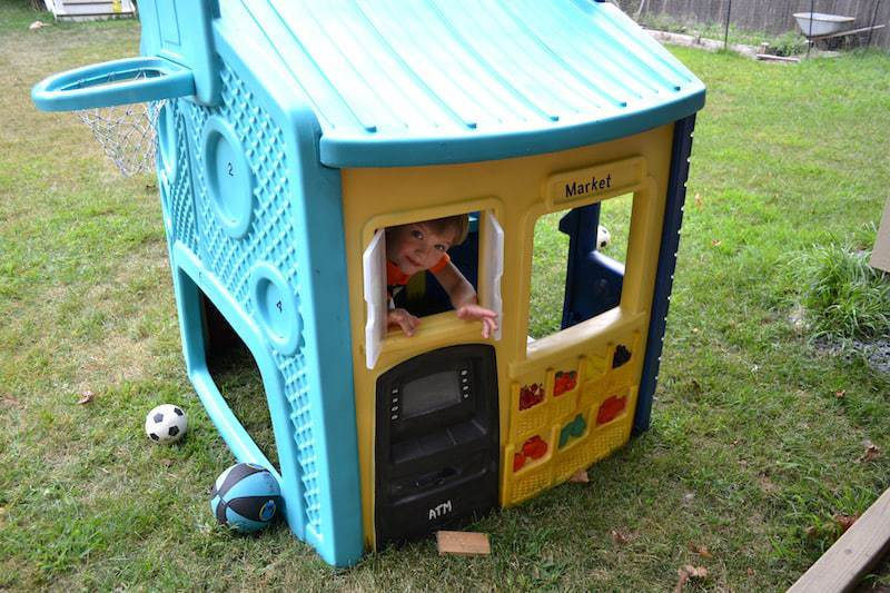 Original photo of our painted Little Tikes playhouse.