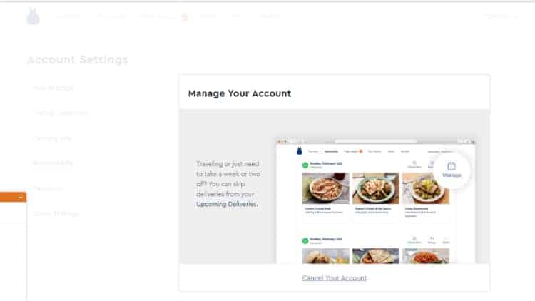 Click Cancel Your Account to cancel your Blue Apron membership.