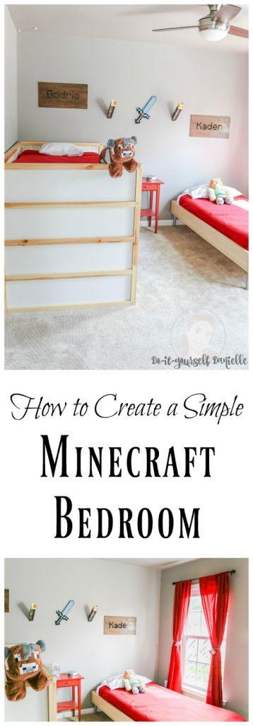 DIY Minecraft Themed Shared Bedroom
