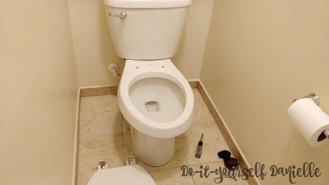 Toilet seat off.