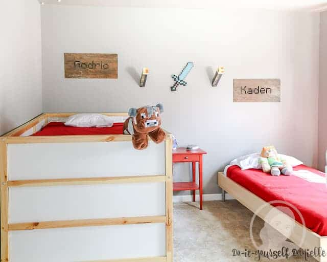 Minecraft themed bedroom for boys to share.