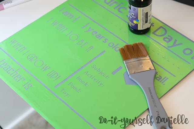 DIY stencil using permanent or removable vinyl for a First Day of School Chalkboard Sign