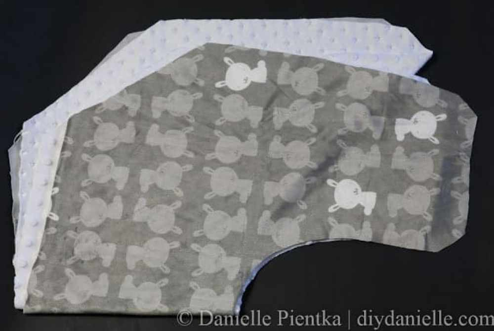 Cut a back and front fabric for your nursing pillow.