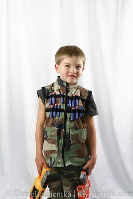 DIY Nerf Vests made with camoflauge fabric.