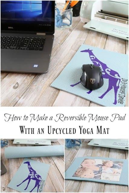 DIY mousepads from vinyl and a yoga mat.