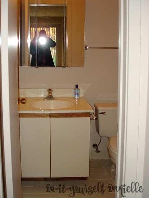 1980's tiny master bathroom in a condominium.