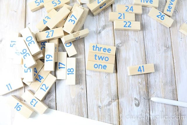 Jenga blocks with numbers for a Family Jenga Game.