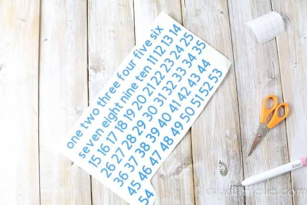 Cut the permanent vinyl for your Jenga blocks.