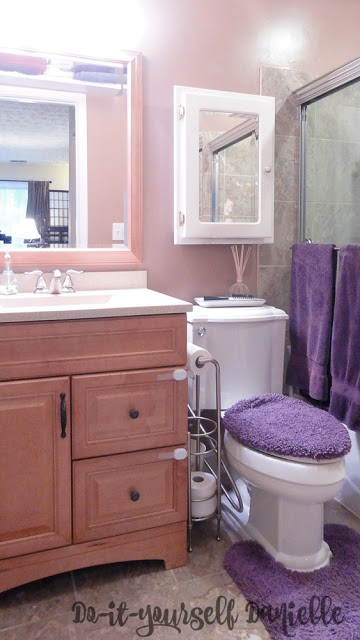 Added lighting, bright and light colors all make this bathroom feel brighter and more open.
