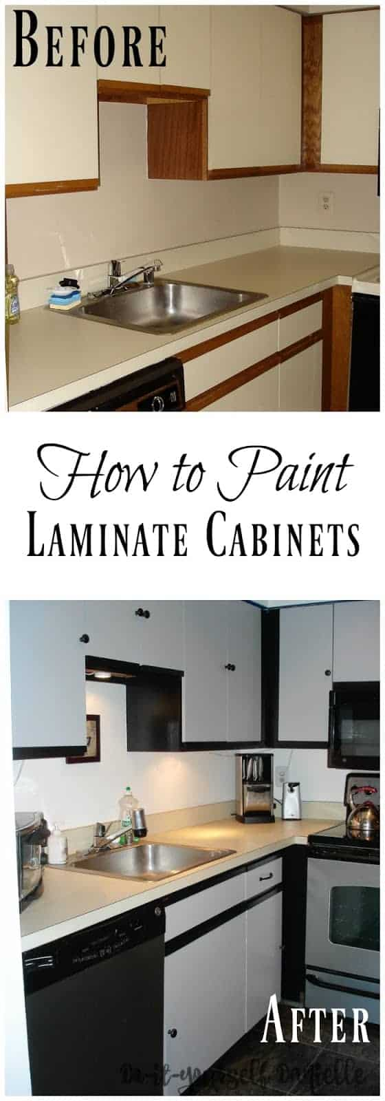 Affordable small kitchen update with paint, primer, and new cabinet hardware for laminate cabinets.