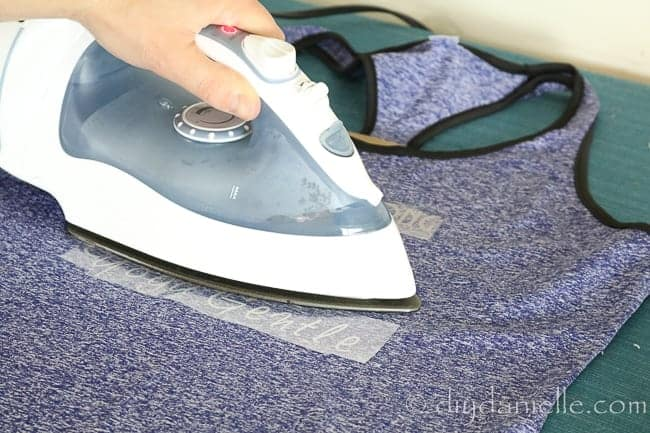 Ironing on Sportflex Iron On Vinyl