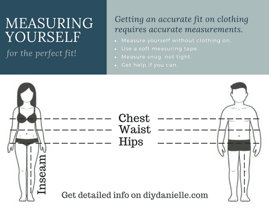 Easy graphic for how to measure yourself. Measure your hips around the fullest part of your butt, your chest around the fullest part of your chest, your waist at the smallest part of your midsection, and your inseam is measured from your crotch to where you want your pants hemmed.