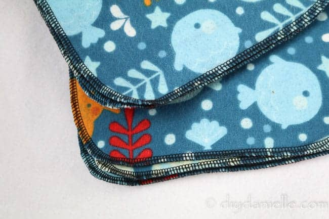 Serger stitching on flannel wipes.