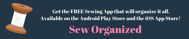 Sew Organized phone app for sewists, available on iOS and Android devices.