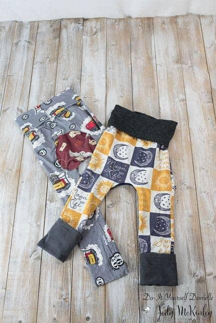 Handmade grow with me pants, made to grow with baby.