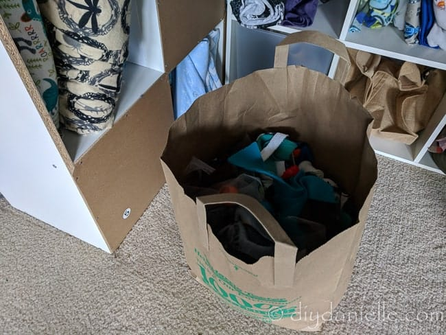 Donate fabric scraps- I keep a small bag for scraps and fabric I don't want. These get donated.