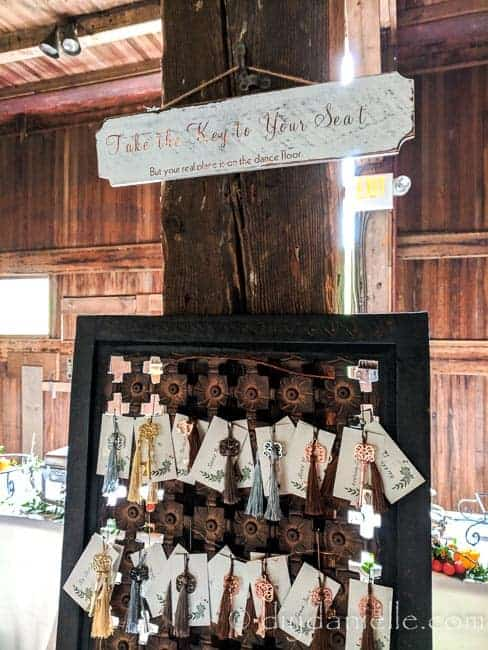 """Reception Seating Chart Ideas: Keys with Guest Seating. This sign was easy to DIY and says """"Take the key to your seat, but your real place is on the dance floor."""""""