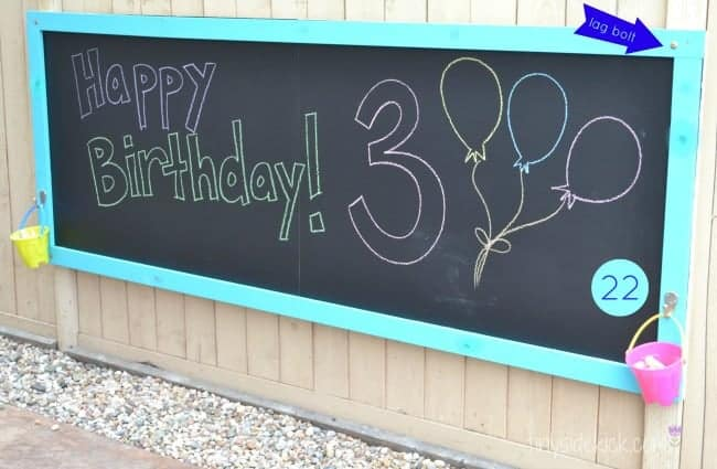 Chalkboard for outdoor kids space.