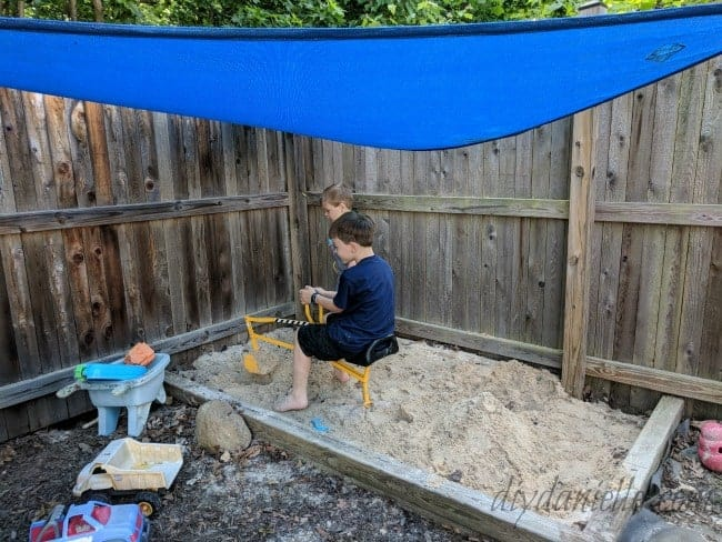 Shade over sandbox.