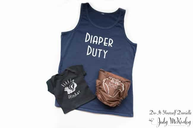 How to create this diaper duty shirt set with your Cricut machine and iron on vinyl.