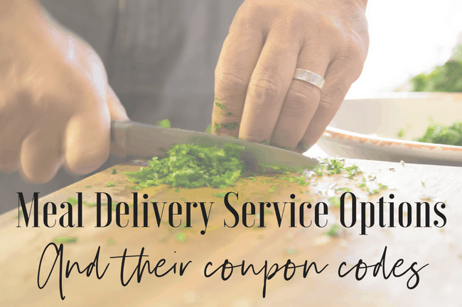 Options for a meal delivery service and their coupon codes. Try them all.