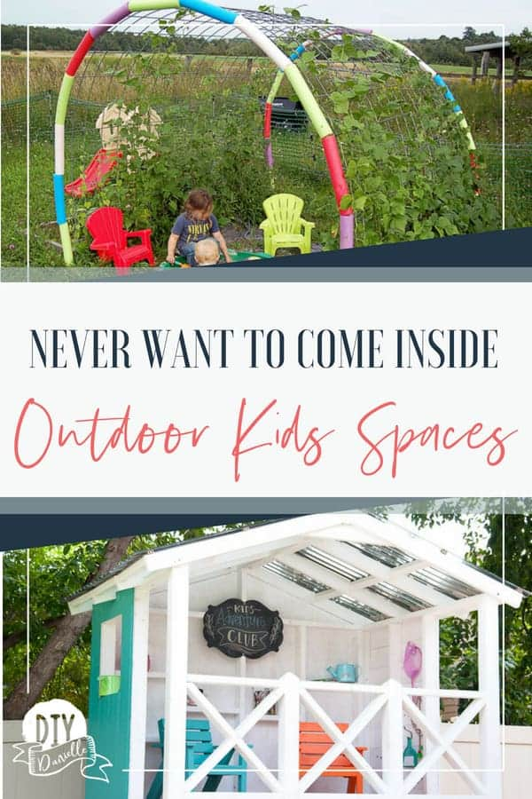 Outdoor kids spaces they'll love this summer. Keep the kids outdoors with an engaging outdoor playroom.