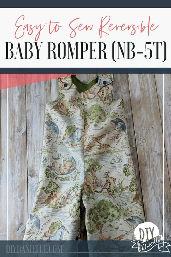 Easy to sew reversible baby romper with sizes NB through 5T.