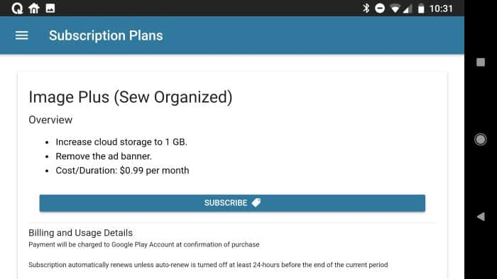 Sew Organized subscription. Screenshot of the screen to sign up.